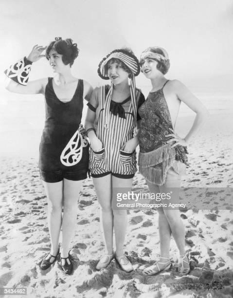 Three Mack Sennett girls or 'Bathing Beauties' on the beach