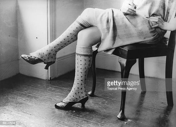 A woman's legs modelling a pair of Highland spattees