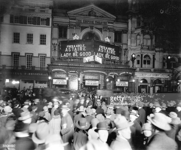 Crowds outside the Empire Theatre London where Fred and Adele Astaire are starring in 'Lady Be Good'
