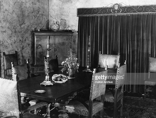 The dining room in the home of John Gilbert the US film star