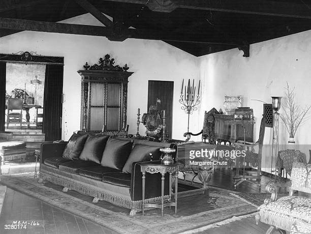 The living room in the new home of MGM's John Gilbert the US film star