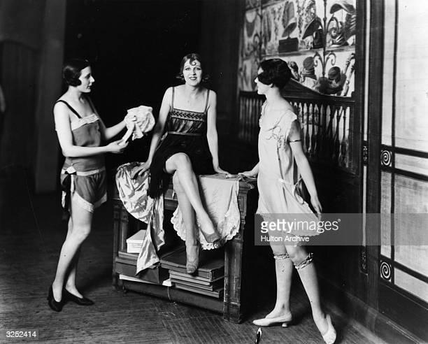 Various designs of glamorous slips stockings and garters