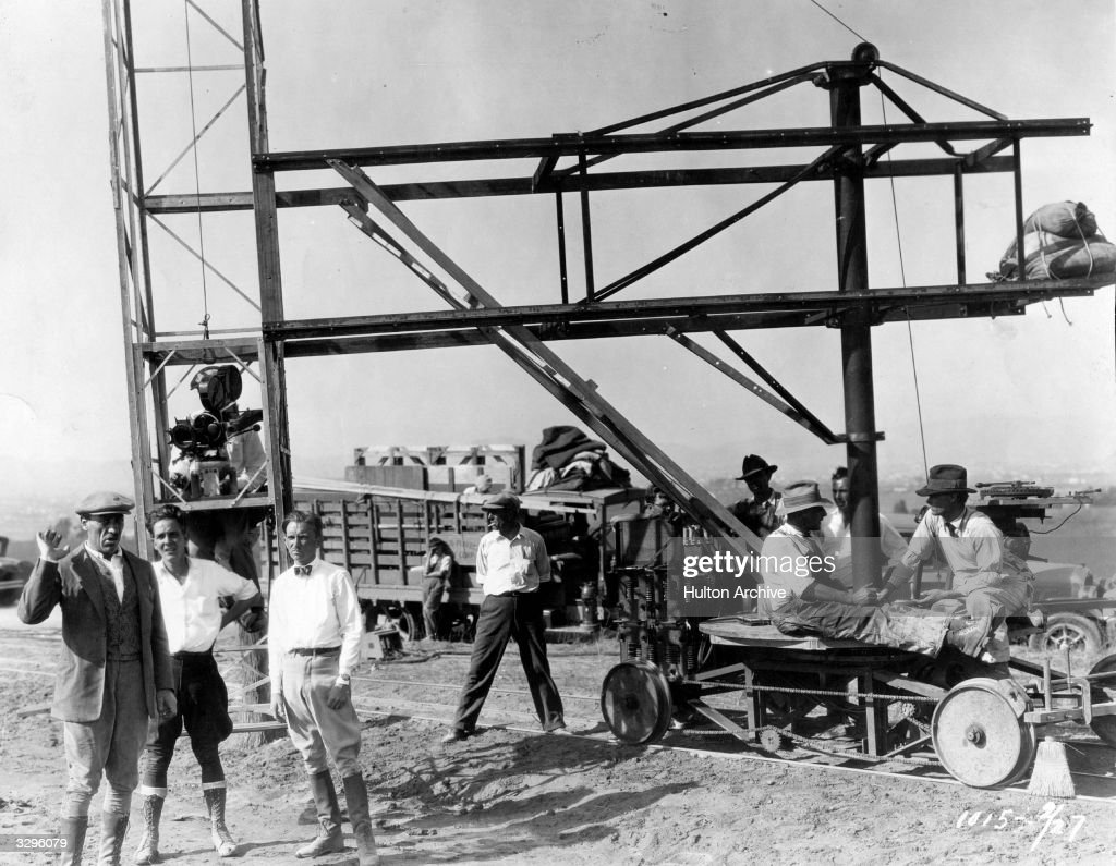 A location set for the film 'Hotel Stadt Lemberg' (aka 'Hotel Imperial') with the director Mauritz Stiller and some of the crew.