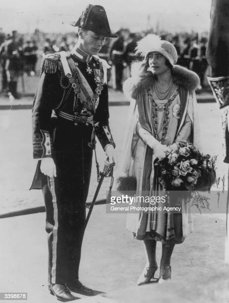 George Duke of York and Elizabeth Duchess of York at the opening ceremony of the Australian Parliament in the Canberra its first session after moving...