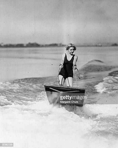 Alice White a Hollywood silent era film star practices her aquaplaning techniques