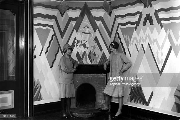 An 'Art Deco' decorative scheme used in show rooms in Dorville House Cavendish Square London with models in knitted suits by Rose and Blairman