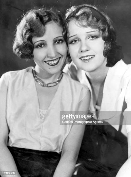 Anita Page film actress and Metro Goldwyn Mayer player is pictured cheek to cheek with her friend Bessie Love the stage name of Juanita Horton the...