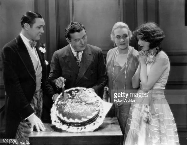 Director Lewis Milestone gets together with Louise Dresser Charles Ray and Corinne Griffith the stars of his film 'Garden Of Eden' to cut his...