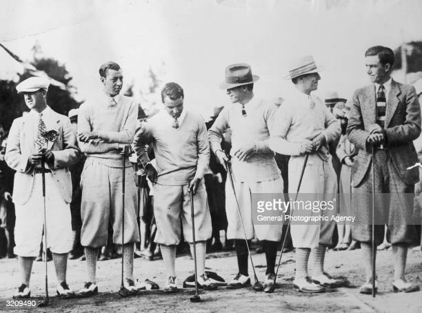 From left to right Louis Costello Joe Turnesa Gene Sarazen Tommy Kerrigan Harry Cooper and Johnny Farrell the participants in a driving contest for...
