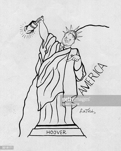 Cartoon of Herbert Hoover , 31st President of the United States, depicted as the 'Statue of Liberty' with brand lowered.