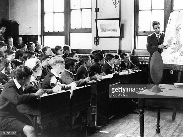 Lesson by radio at the Acland Central School, north London.