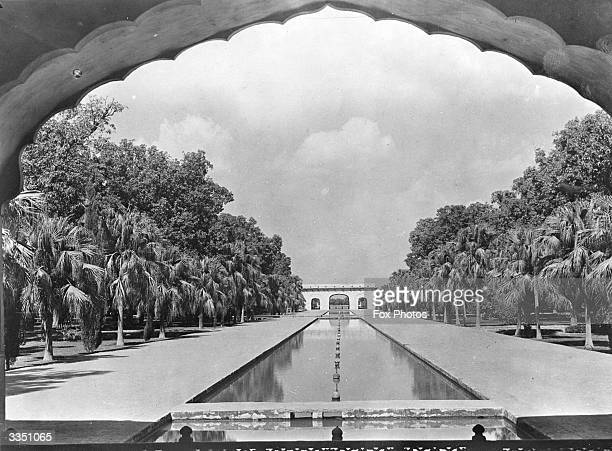 A tree lined canal in the Shalimar gardens in Lahore laid out by Shah Jahan in 1641