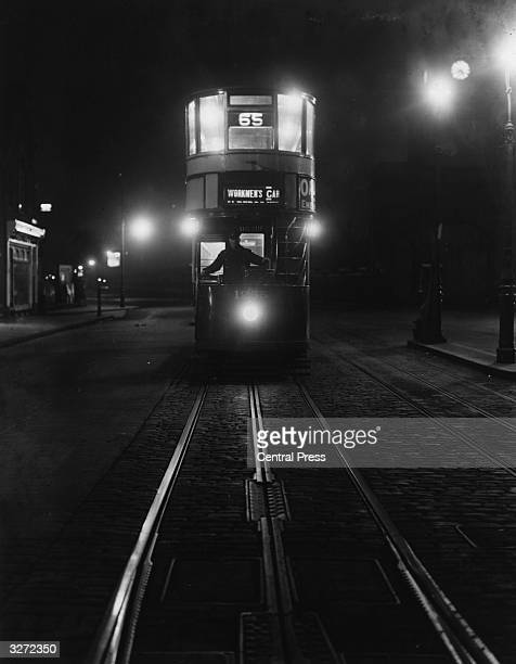 An early morning 'Workmans' tram on route No 65 travelling from East Ham to Bloomsbury