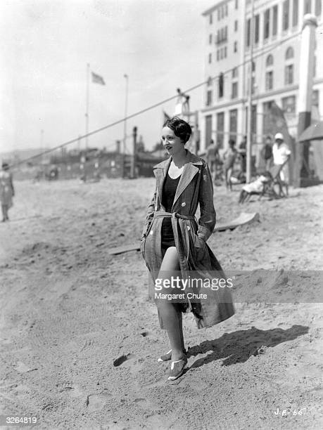 Cecil B DeMille player Julia Faye one of the best swimmers in the film world on the beach at Santa Monica