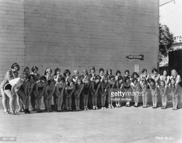 Thirty-six dancing girls gathered by Paramount Studios for the Paramount film 'The Dance of Life', adapted from the stage play 'Burlesque'.