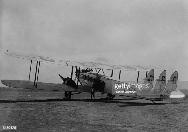 De Havilland Hercules biplane, the 'City of Baghdad' belonging to Imperial Airways. It is used on an eastbound Cairo via Baghdad and Gaza service.