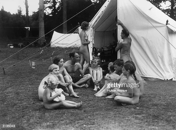 A group of naturists camping