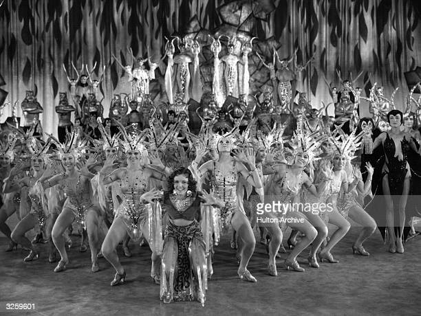 A large group of chorus girls in full costume