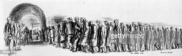 A queue of sombre men waiting for a ration of bread in a New York soup kitchen during the Depression Original Artwork Drawn by Reginald Marsh