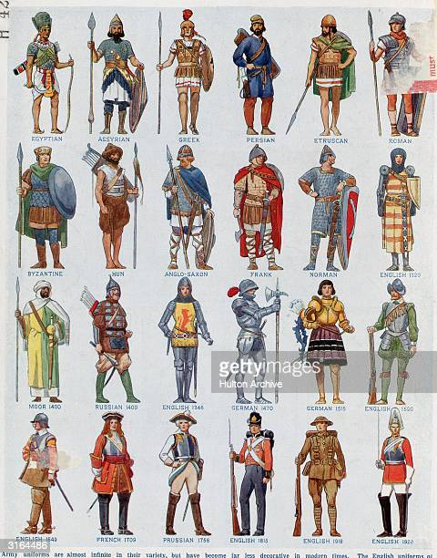 A selection of army uniforms through the ages ranging from an Ancient Egyptian to an 1928 English guardsman