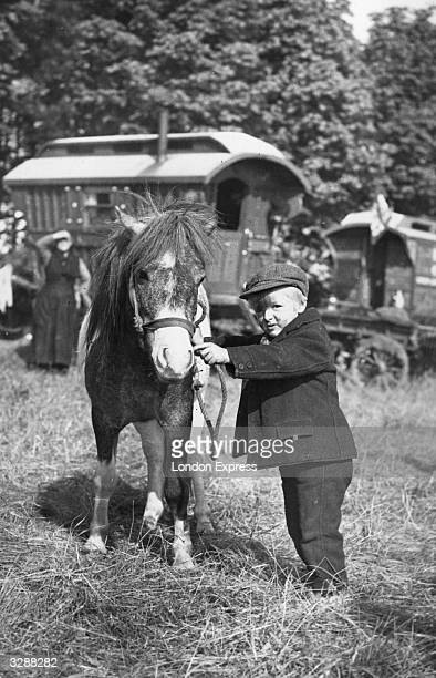 Young gypsy boy handles a Shetland pony at a gypsy encampment on the downs at Epsom during the Derby meeting.
