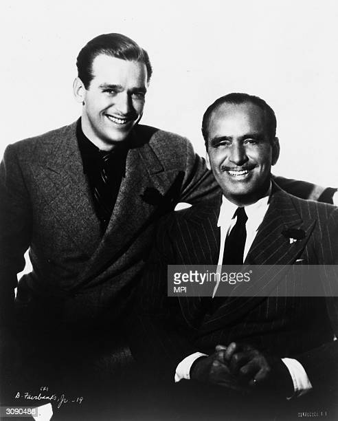 American actor Douglas Fairbanks Jnr with his father and fellow actor, Douglas Fairbanks Snr .