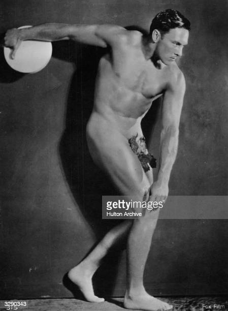 American cowboy actor George O'Brien voted the top box office star for westerns wearing a fig leaf and posing as a Greek discus thrower