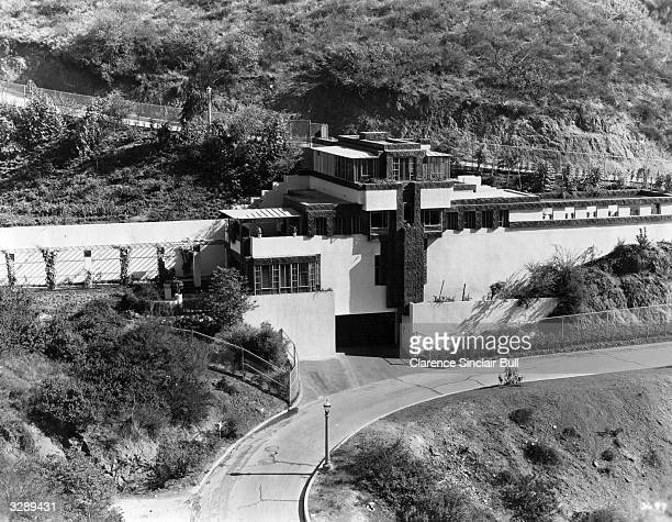 An exterior view of the home of Ramon Novarro, the Metro Goldwyn Mayer star. It is situated in the hills overlooking Los Angeles. Four stories high...