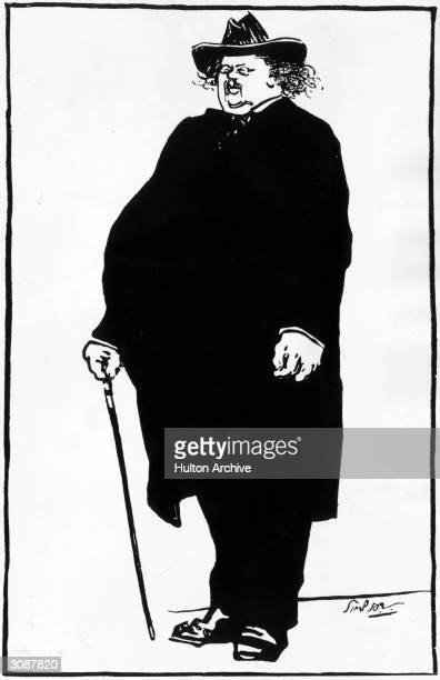 British author G K Chesterton in his familiar outfit of broadbrimmed hat cloak and pincenez Original Artist By Joseph Simpson