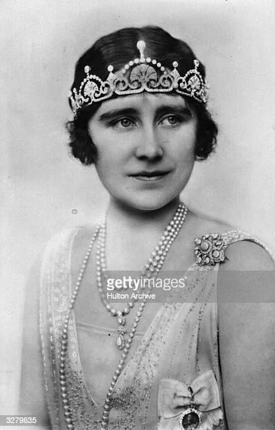 Elizabeth Angela Marguerite Duchess of York future Queen Consort to King George VI wearing a tiara