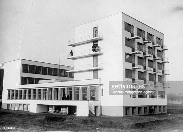 Exterior of the students rooms at the Bauhaus school at Dessau designed by architect Walter Gropius in 1926
