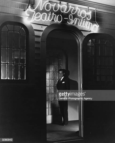 Hollywood film star and actor Ramon Novarro , signed by MGM. He appeared with Evelyn Laye in her film 'The Night of Romance'. He is outside his own...