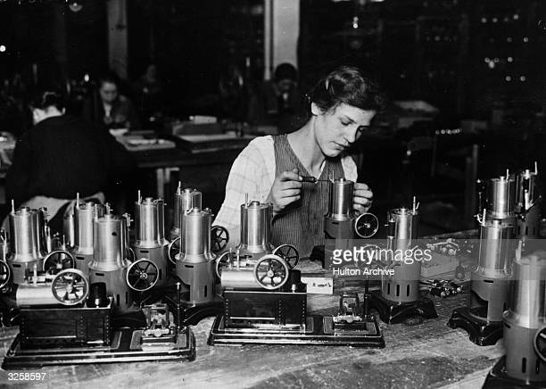 Making toy steam engines at a works factory in Nuremberg