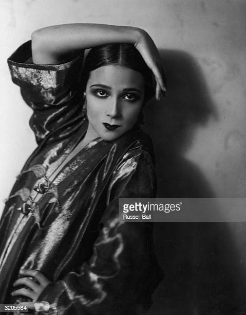 Mexican film star Dolores Del Rio poses at her home in Hollywood