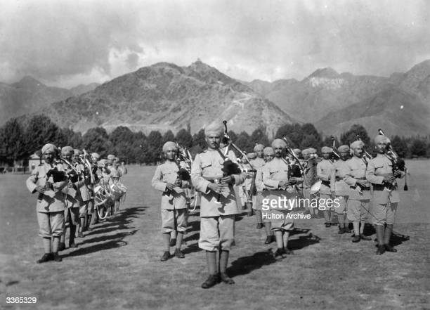 Pipers of the British Gurkha army at the Landi Khotal on the northwest frontier of India
