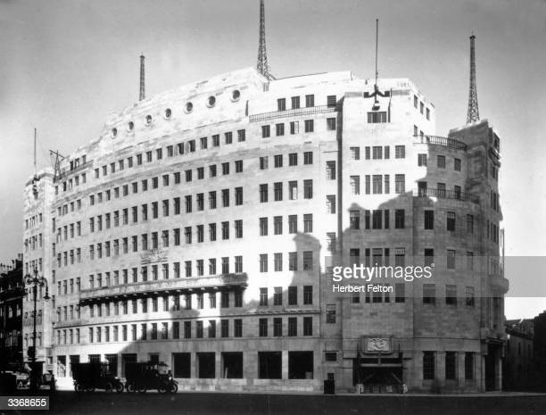 Side view of Broadcasting House, headquarters of the British Broadcasting Corporation , at Langham Place, London.