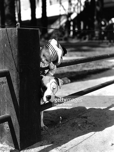Spanky youngest member of American children's film comedy group 'Our Gang' with his pal Pete the Pup