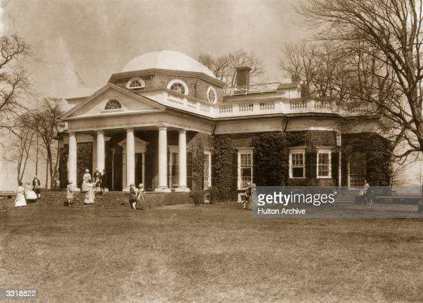 Students of the University of Virginia posing as house guests outside Monticello Charlottesville Virginia the home of Thomas Jefferson the 3rd...