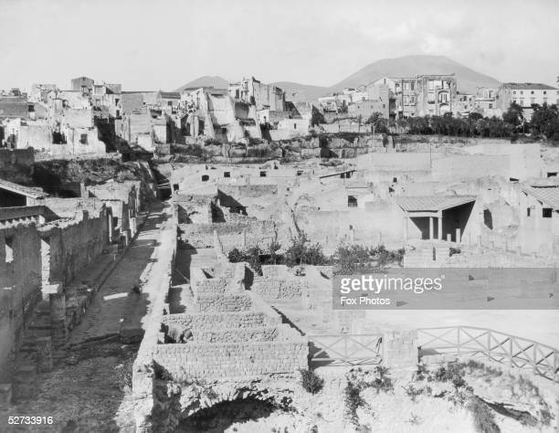 The ancient Roman city of Herculaneum, which was destroyed, along with Pompeii, by the eruption of Mount Vesuvius in AD 79.