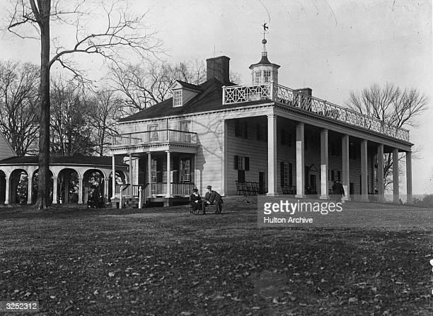 The front entrance and verandah of the house at Mount Vernon Virginia which belonged to George Washington the 1st President of the United States of...