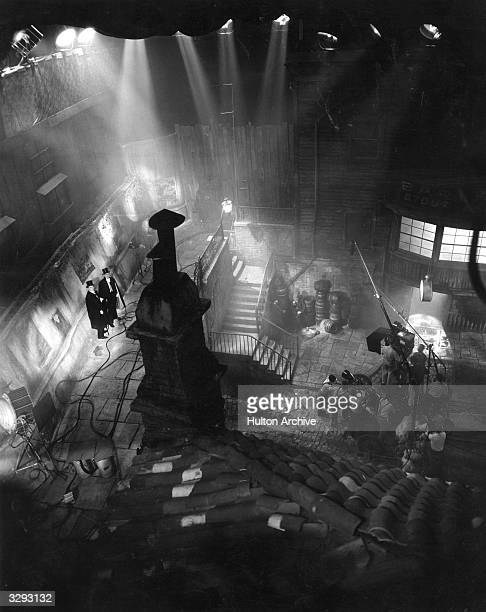 A view down from the rafters of the Paramount sound stage recreating London's Soho district for the film 'Doctor Jekyll and Mr Hyde' directed by...