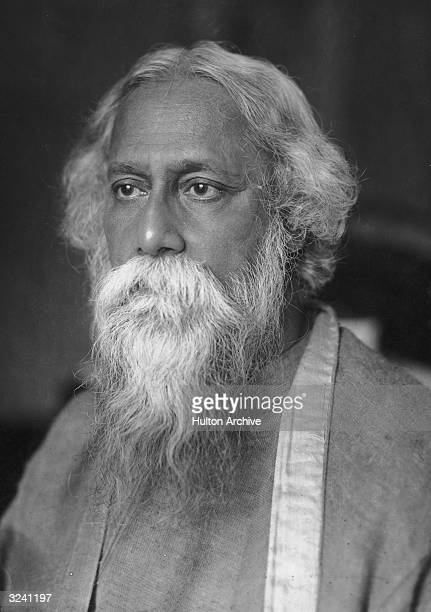 Headshot portrait of Indian philosopher and poet Rabindranath Tagore