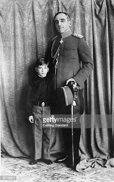 King Alexander Karadjordjevic I of Yugoslavia and his eldest son and heir Prince Peter pose for an anniversary photograph