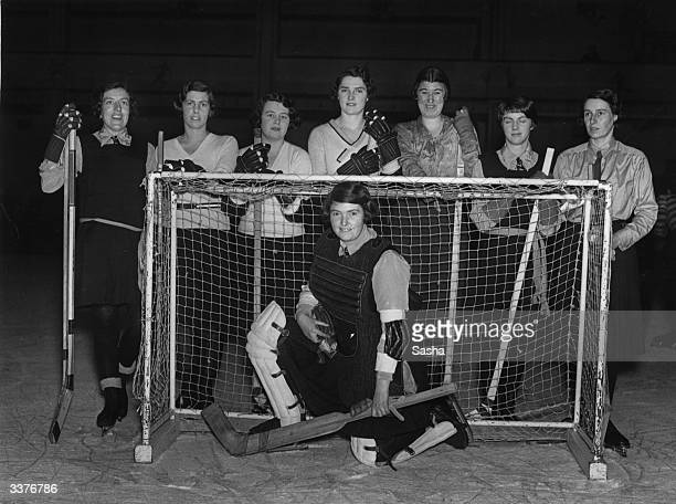 Members of the English women's ice hockey team at Golder's Green Ice Rink in north London before a match against France.