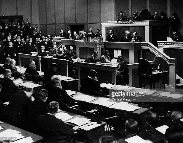 Meeting of the League of Nations. The League was formed after the end of World War I to solve international disputes. It was dissolved in 1946,...