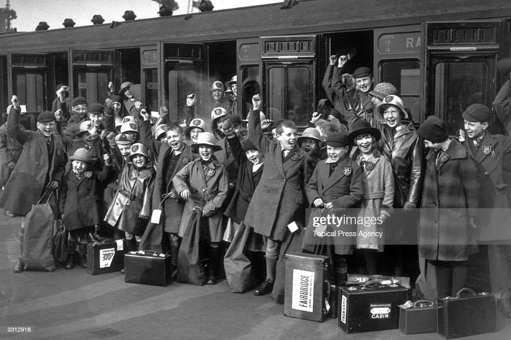 Forty cheering children, leaving Waterloo, headed for Western Australia where they are to be trained at a farm school.