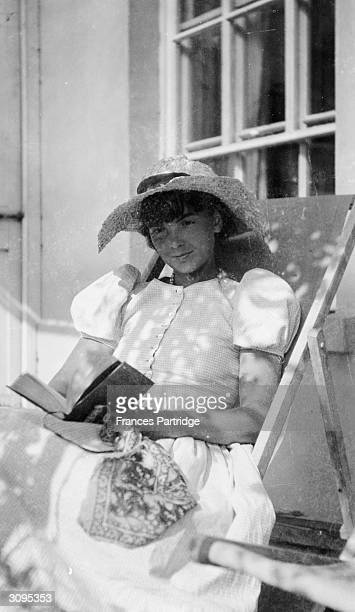 Kathy John wife of Romilly on the verandah at Ham Spray Wiltshire
