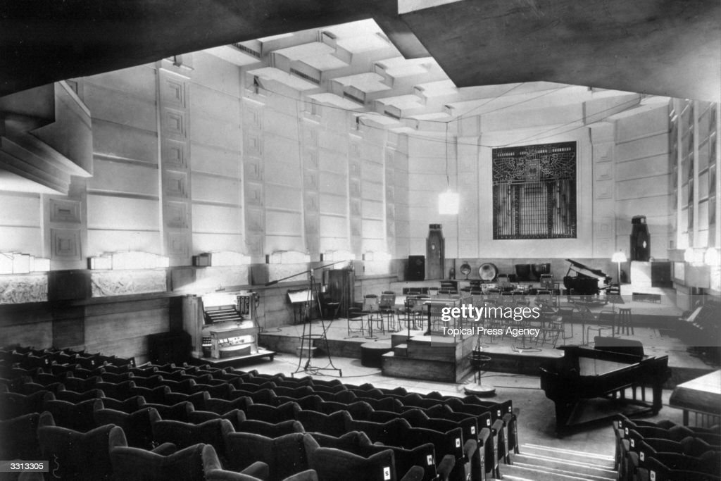 The empty concert hall at Broadcasting House, London.