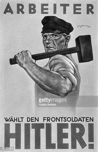 A nazi party election poster urging German workers to vote for Adolf Hitler