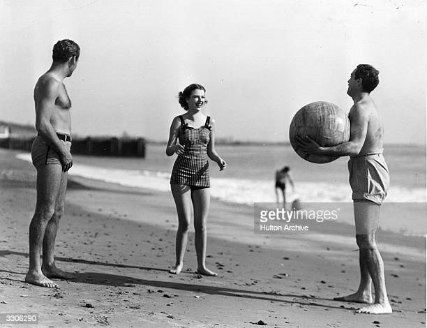 Betty Furness, the Hollywood film star and actress, signed by MGM, seen here on holiday at Santa Barbara with Pat DeCicco and Allan Jones .